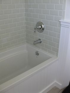 love the beveled subway tile master bathroom!!