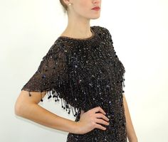 1980s beaded dress silk dress black beaded sequin by vintagerunway
