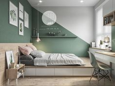 Colorful interior with connection: green, coral, blue & yellow decor . - Colorful interior with connection: green, coral, blue & yellow decor - Green Bedroom Design, Bedroom Green, Green Bedrooms, Coral Bedroom, Big Boy Bedrooms, Apartment Design, Apartment Living, Living Room Decor, Bedroom Decor