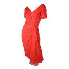 1950s Ceil Chapman Red Silk Chiffon Cocktail Dress