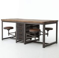 This industrial work table is insane! I had to share! It seats 4 and would be perfect for an office that does a lot of group projects or even a crafting room. It's just a gorgeous piece! Rupert Industrial Architect Work Table Desk With Attached Seating Industrial Design Furniture, Vintage Industrial Furniture, Industrial Table, Furniture Design, Luxury Furniture, Industrial Bookshelf, Kitchen Industrial, Industrial Restaurant, Industrial Apartment