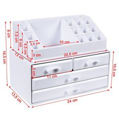 SONGMICS Clear Cosmetics Organiser, Makeup Storage Holder with 4 Drawers and 16 Compartments of Different Sizes, Non-Slip Mats, for Makeup and Jewellery Accessories, Transparent Cardboard Furniture, Cardboard Crafts, Cheap Furniture, Desk Organization Diy, Diy Desk, Rangement Art, Carton Diy, Cardboard Organizer, Makeup Storage