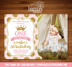 Pink and gold birthday invitation baby girl first birthday party printable pink and gold glitter princess birthday invitation royal girls 1st birthday party or for filmwisefo