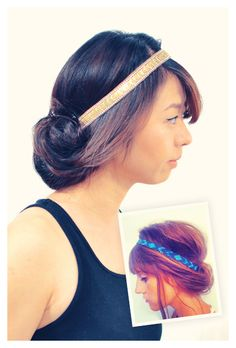 This headband hairstyle is super chic and easy to do when your hair is dirty, messy, or unkempt. #supereasy