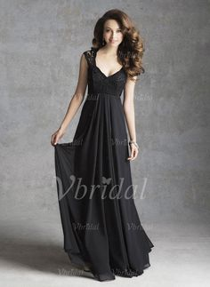 Bridesmaid Dresses - $130.78 - Empire V-neck Floor-Length Chiffon Bridesmaid Dress With Ruffle Lace (0075057471)