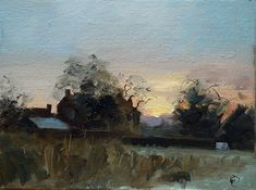 Nigel Fletcher, 'Sunrise over the farm' Oil on board, 6x8 in., Limited earth colour (Burnt Siena or Umber) a blueish colour (Ivory Black or Ultramarine Blue) and a yellow (Cadmium or Yellow Ochre) + White