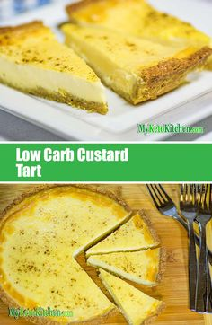 Our Low Carb Custard Tart ticks all the boxes of a classic Custard Tart or Pie; the base is crisp, sweet and doesn't overpower the delicate vanilla custard; the custard is sweet, creamy and like silk on the tongue – yet only net carbs per serve. Sugar Free Desserts, Sugar Free Recipes, Low Carb Recipes, Dessert Recipes, Cooking Recipes, Keto Desserts, Banting Recipes, Quick Recipes, Cheesecake Recipes