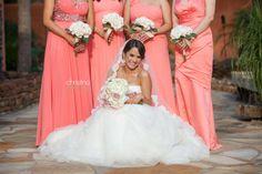 Bridal Party, beautiful coral bridesmaid dresses!