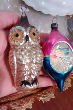 Vintage Christmas ornaments set of two owl ornament and pink and blue glass ornament vintage Christmas tree decorations by HappyVintageStudio on Etsy