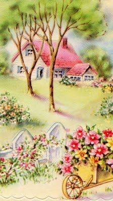 Here's a lovely vintage cottage home so sweetly displayed on this vintage greeting card. I just love all the vintage illustrations and gra. Images Vintage, Art Vintage, Vintage Pictures, Vintage Prints, Illustrations Vintage, Illustration Art, Vintage Greeting Cards, Vintage Postcards, Flower Cart