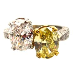 "Natural Fancy Yellow & White Diamond ""Toi et Moi"" Crossover Ring 