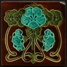 TH2473 Lovely Art Nouveau Majolica Tile Corn Bros c.1905 | eBay