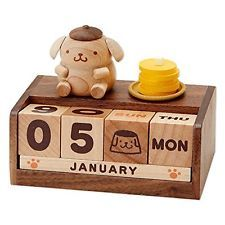 Pom Pom Pudding Perpetual Real Wood Desktop Calendar by Sanrio Japan