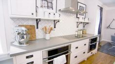 Herringbone white tile with grey grout Sarah 101 Country Kitchen