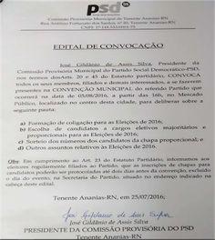 RN POLITICA EM DIA: TENENTE ANANIAS: PSD REALIZA CONVENÇÃO DIA 05 DE A...