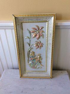 Vintage Metalcraft Grecian Style Framed Art, Blow Mold, Pantone, Ornate Metal Frame, Shabby Chic, Hollywood Regency, Cottage Decor