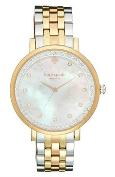 Free shipping and returns on kate spade new york 'monterrey' bracelet watch, 38mm at Nordstrom.com. Sparkling crystals mark the hours and ring the mother-of-pearl dial of a polished round watch set on a gleaming 5-link bracelet.