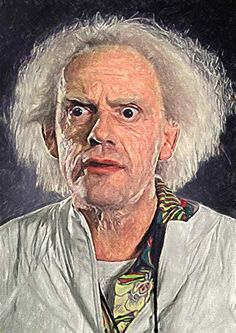 Zapista Great Scott Dr Emmett Brown Painting Fine Art Print Back to The Future Unique Movie Artwork Poster Home Wall Decor Unframed x Doc Brown, Oil Portrait, Lowbrow Art, Back To The Future, Poster Prints, Poster Wall, Unique Art, Fine Art America, Dibujo