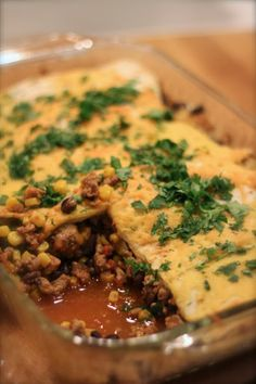 Mexican Lasagna - I like the idea, but I think noodles instead of switching to tortillas. Holds up better.