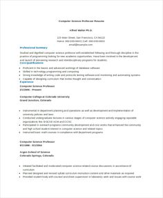 Entry Level Computer Science Resume In Computer Science Resume