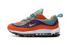 75798cfab02cc Mens Nike Air Max 98 Cone Tour Yellow Hyper Grape Athletic Sneakers Jordan  Shoes For Men