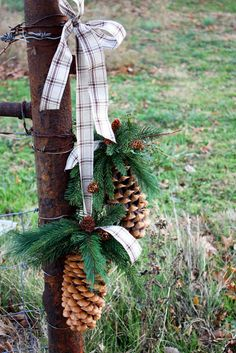 Home Decor Ideas: Rustic Winter / Christmas Decor pinecones with greens and a plaid ribbon Noel Christmas, Primitive Christmas, Country Christmas, Christmas Projects, Winter Christmas, All Things Christmas, Holiday Crafts, Christmas Wreaths, Christmas Decorations