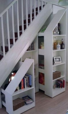 Bookcase Door Under Stairs . Bookcase Door Under Stairs . I Like Chalk Board Paint for Cubby Under Stairs Staircase Storage, House Design, Staircase Remodel, Stair Decor, House, Staircase Design, Basement Remodeling, New Homes, Stair Storage