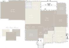 Sherwin Williams Colonnade Gray SW7641 , Repose Gray SW7015, and Alabaster SW7008 Color Paint Map Floor Plan http://elizabethbixler.com/sherwin-williams-gray-versus-greige/