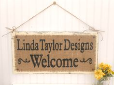 WELCOME Business Sign rustic shabby chic burlap by OldAndNewShoppe, $58.00