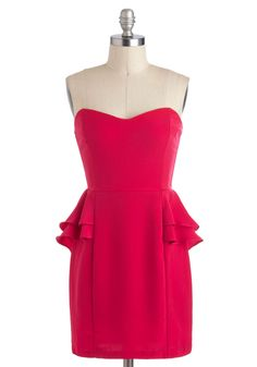 A     Fuchsia Fabulous Dress - Short, Pink, Solid, Exposed zipper, Party, Peplum, Strapless, Sweetheart, Cocktail, Girls Night Out