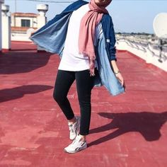 denim chemise-Hijab fashion and style – Just Trendy Girls