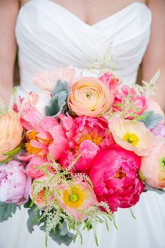 pink flowers, bright wedding bouquet