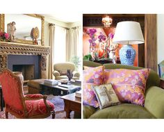 17th Century French chairs flank fireplace and vintage Moroccan pillows pop on green Italian velvet