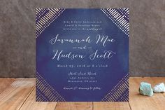 Indigo Print Foil-Pressed Wedding Invitations by P... | Minted