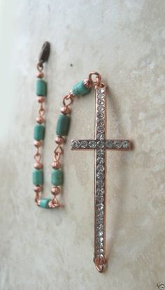 GENUINE ARIZONA TURQUOISE COPPER CRYSTAL CROSS COPPER BRACELET #HANDMADE #TRADITIONAL