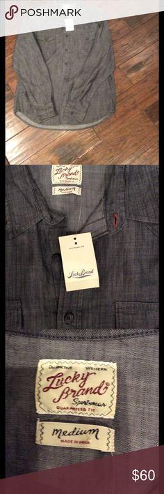 NEW MARKDOWN🎉NWT Lucky Brand denim shirt NWT Lucky gray denim shirt Lucky Brand Shirts Casual Button Down Shirts