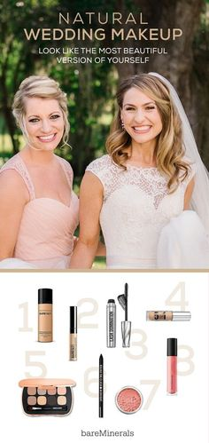 bareMinerals wedding makeup essentials by our favorite bridal makeup artists: (1) bareSkin Pure Brightening Serum Foundation, (2) bareSkin Complete Coverage Serum Concealer, (3) Lash Domination Volumizing Mascara, (4) 5-in-1 BB Advanced Performance Wear Cream Eyeshadow in Soft Linen, (5) Ready Eyeshadow 8.0 in the Sexy Neutrals, (6) Round the Clock Intense Cream-Glide Eyeliner in Midnight, (7) Blush in Vintage Peach, and (8) Gen Nude Buttercream Lipgloss in Fancy. Photography by Keen and…