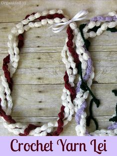 A DIY yarn craft . Easy to make pattern for a crocheted yarn lei -Organized 31 Make your own Hawaiian lei to give as a graduation gift or for other special occasions. Diy And Crafts Sewing, Crafts For Kids, Diy Crafts, Yarn Crafts, Crochet Yarn, Free Crochet, Cotton Crochet, Easy Crochet, Ribbon Lei