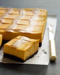 Pumpkin Cheesecake Bars with Caramel Swirl Recipe on Food & Wine