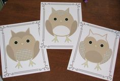 Neutral Owl Nursery Art Prints Set of 3  8x10's Nursery Art  Bedroom Art. $16.00, via Etsy.