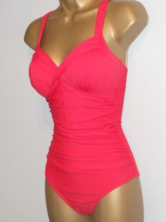 ac04a337a1708 LADIES RED MARKS   SPENCER RUCHED SWIMSUIT SIZE 10 CONTROL SWIMWEAR  fashion   clothing