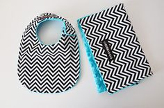 Benji Needs These!! Baby Bib and Burp Cloth Set, Chevron in Black and White and Your Choice of Bubble Dot Minky. $16.00, via Etsy.