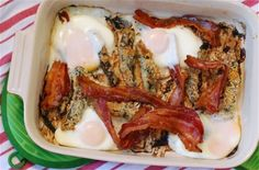 Mushroom , Bacon and Egg Breakfast Bake