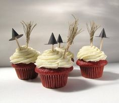 Red velvet witches' cupcakes