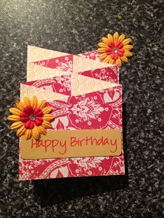 Cascading birthday card with flowers yellow and red