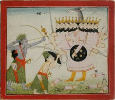 www.IndianMiniaturePaintings.co.uk - Indian miniature painting: Ramayana illustration: Rama and Lakshmana in battle with Ravana. Mandi, circa 1840. Gouache and gold on wasli. 17.4 x 20.1cm Sri Rama, Hanuman, Indian Paintings, Indian Art, Gouache, Broken Arrow, Miniature Paintings, Battle, Demons