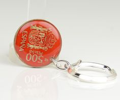 Spain old peseta coin Keychain. $19.50, via Etsy.