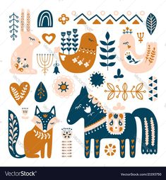 Illustration about Composition with Folk art animals and decorative elements. Illustration of animal, flower, nordic - 119685873 Scandinavian Pattern, Scandinavian Folk Art, Folk Art Flowers, Flower Art, Vector Pattern, Pattern Art, Pattern Flower, Pattern Design, Design Design