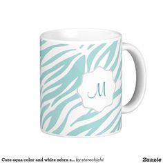 Cute aqua color and white zebra striped,
