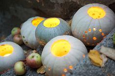 Kleine weiße Kürbisse und Marble-Kürbisse werden ausgehöhlt und mit Kerzen in kleine Windlichter verwandelt. Pumpkin, Vegetables, Food, Decorating Ideas, Creative, Candles, Pumpkins, Vegetable Recipes, Eten